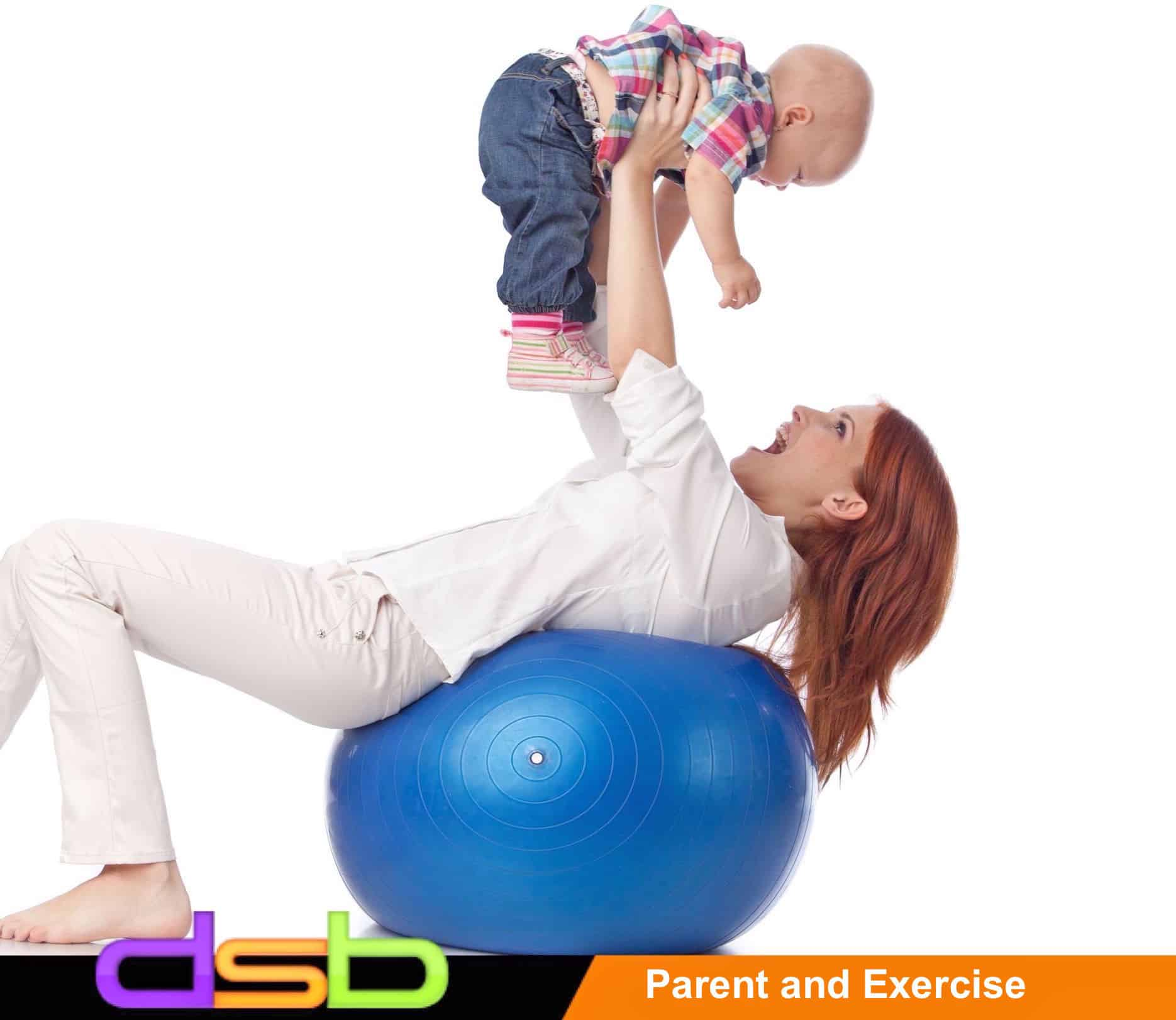 8506876 - mother and sweet small baby with fitness ball on a white background.
